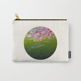 Mid Century Modern Round Circle Photo Graphic Design Pink Japanese Blossoms Over Green Pond Carry-All Pouch