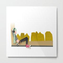 fashion hipster music illustration girl Metal Print