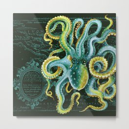 Green Octopus Vintage Map Chic Watercolor Art Metal Print
