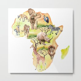 African map with animals. Metal Print