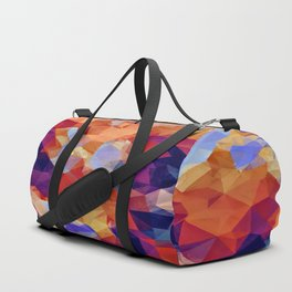 psychedelic geometric polygon pattern abstract in orange brown blue purple Duffle Bag