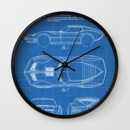 Classic Car Patent - American Car Art - Blueprint Wall Clock