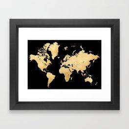 Sleek black and gold world map Framed Art Print