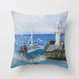 The Brixham Trawler Throw Pillow