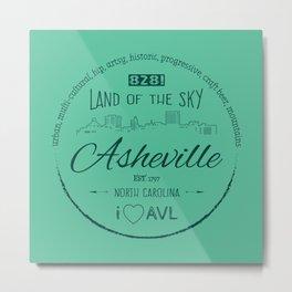 Asheville, NC - AVL 16 Green Metal Print