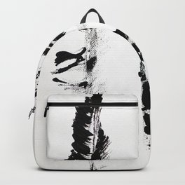 Black & white three abstract feathers illustration Backpack