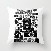 cameras Throw Pillows featuring Cameras by Ewan Arnolda