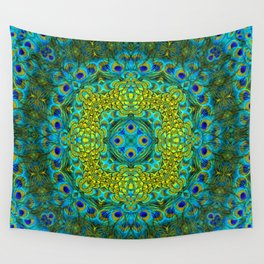 Peacock Feathers - Blue Wall Tapestry