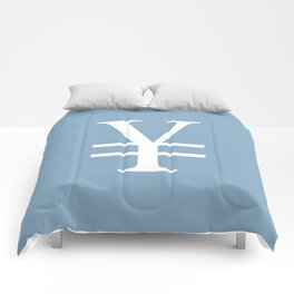 yuan currency sign on placid blue background Comforters