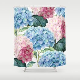 Pink Blue Hydrangea Shower Curtain