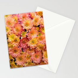 Pink Yellow and Orange Chrysanthemums Stationery Cards