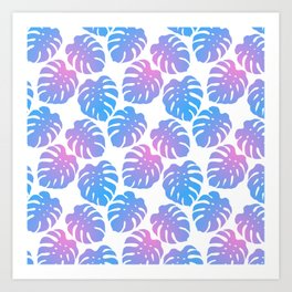Monstera Deliciosa Pink and Blue Gradient Pattern Art Print