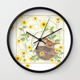 House Wren with sunflower Wall Clock