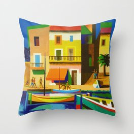 Vintage French Riviera Travel Ad Throw Pillow