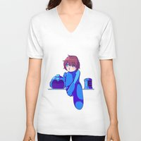 megaman V-neck T-shirts featuring Megaman II  by Magnta