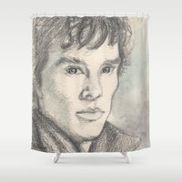 sherlock Shower Curtains featuring Sherlock by Pendientera