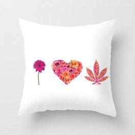 i Heart Pot Leaf Throw Pillow