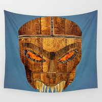 buffy Wall Tapestries featuring Buffy - Dead Man's Party Mask by BovaArt
