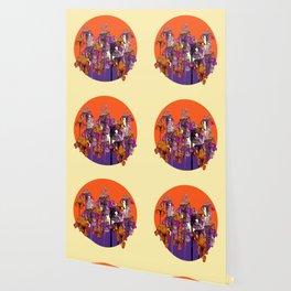 """modern art """" PURPLE & CREAM """" ORANGE IRIS GARDEN Wallpaper"""