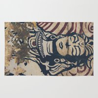 hindu Area & Throw Rugs featuring Hindu mural by Rick Onorato