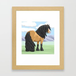 Buckskin Gypsy Vanner Draft Horse Framed Art Print