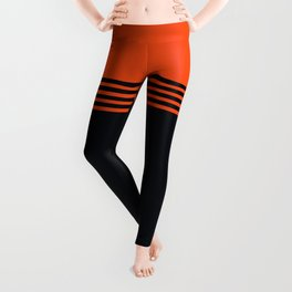 70s Orange Retro Striped Pattern Leggings