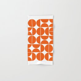 Mid Century Modern Geometric 04 Orange Hand & Bath Towel