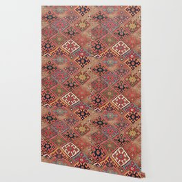 Rosettes Diamond and Stars // 19th Century Colorful Red Black Dusty Blue Space Ornate Accent Pattern Wallpaper