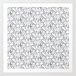 Flower petals drawing in black and white Art Print