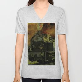 Rail Blazer - Vintage Steam Train Unisex V-Neck
