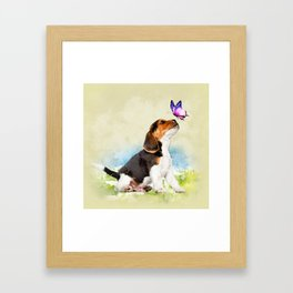 Beagle puppy with butterfly Framed Art Print