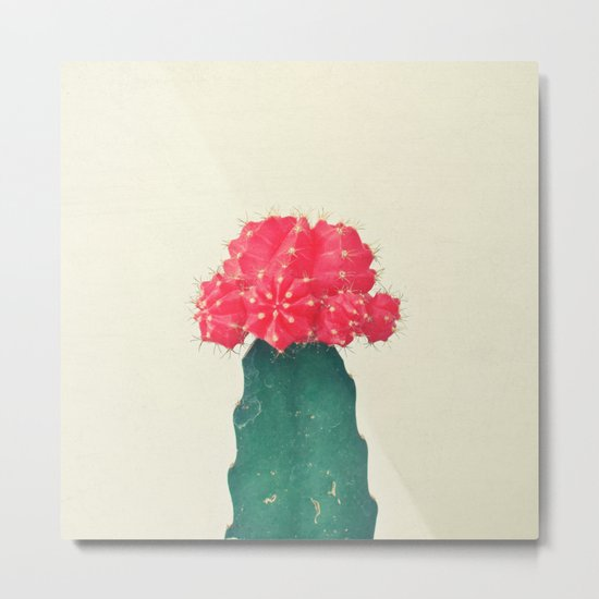 Red Plaid Cactus Metal Print