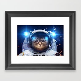 Beautiful cat in outer space Framed Art Print