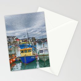 Boats in Mevagissey Harbour. Stationery Cards