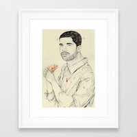 burger Framed Art Prints featuring burger by withapencilinhand