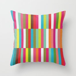 Bright Colorful Stripes Pattern - Pink, Green, Summer Spring Abstract Design by Throw Pillow