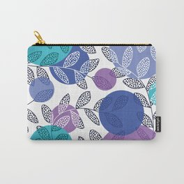 Round of Blue Leaves Carry-All Pouch