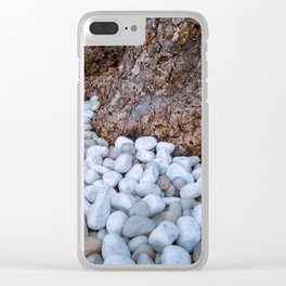 White stones by a tree trunk Clear iPhone Case