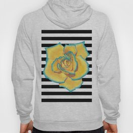 Yellow and Turquoise Rose on Stripes Hoody