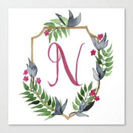 Jungle Gold Monogram Crest N Canvas Print