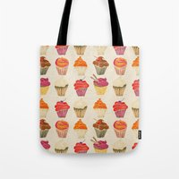 cupcakes Tote Bags featuring Cupcakes by Cat Coquillette
