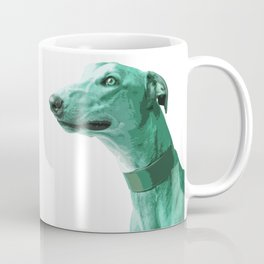 Green Greyhound. Pop Art portrait. Coffee Mug