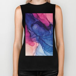 Pondering- Blue and Blush- Alcohol Ink Painting Biker Tank