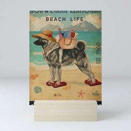 Beach Life Sandy Toes Norwegian Elkhound dog gift Mini Art Print