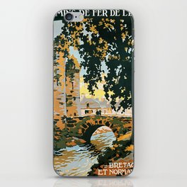 Bretagne et Normandie, French Travel Poster iPhone Skin