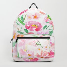 pink flowers and green leaf pattern  Backpack