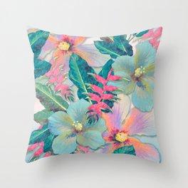Aqua Ginger Alohas Throw Pillow