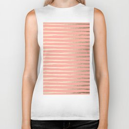 Abstract Stripes Gold Coral Pink Biker Tank