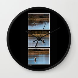 Gone Fishing Triptych Black Wall Clock