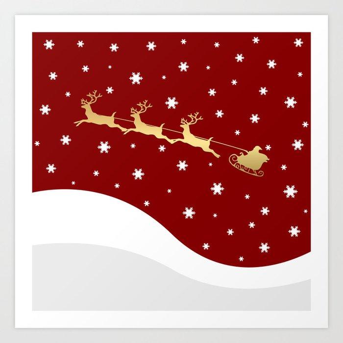 Red Christmas Santa Claus Art Print